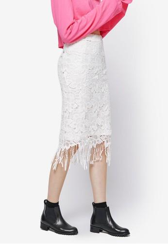 流蘇下擺蕾絲鉛筆裙, 服飾,esprit 台北 裙子