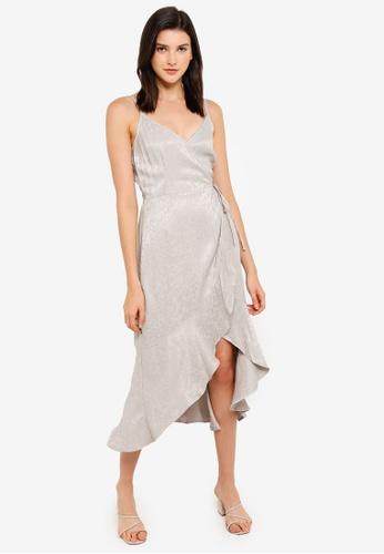 Abercrombie & Fitch grey Cami Satin Wrap Ruffle Hem Dress 398AAAA860D771GS_1