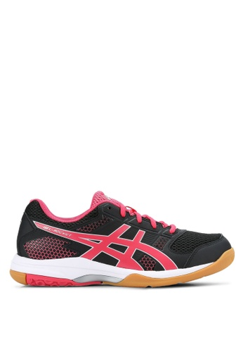 Asics black and red and silver Gel-Rocket 8 Shoes AS989SH0RC4OMY_1