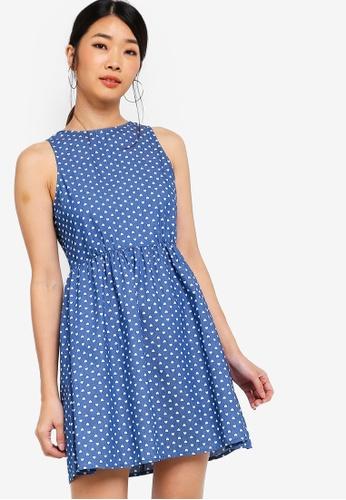 Something Borrowed blue Printed Chambray Mini Dress D8CE0AA0DFF36DGS_1