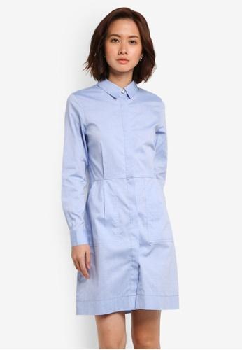 ZALORA blue Button Through Long Sleeve Shirt Dress F50C5AA959B2E5GS_1