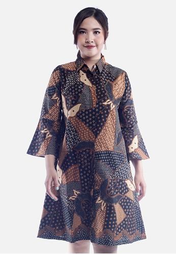 EAJA brown Shintia Dress Batik Wanita Modern 1E06FAA3F90FADGS_1