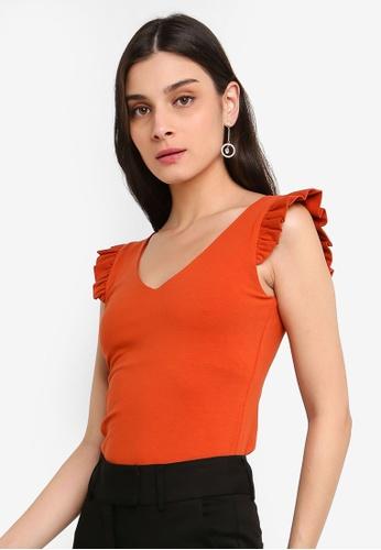 FORCAST orange Alannah Ruffle Sleeve Top A5D4AAA6D78896GS_1