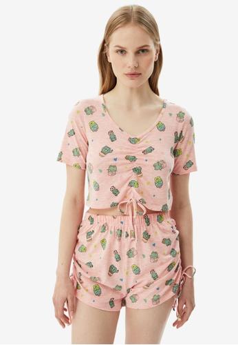 Trendyol 粉紅色 Print Pyjamas Set 01E01AA4C161ECGS_1