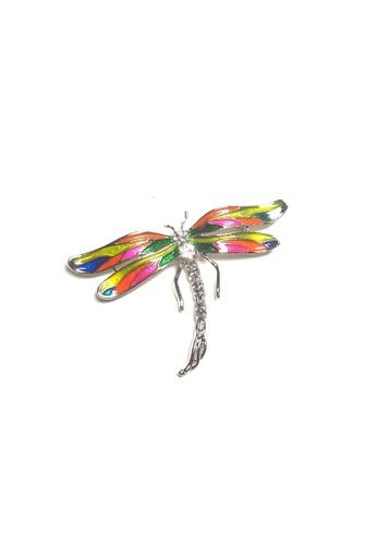 Loveaisyah multi Neon Dragonfly Brooch free Black Velvet Tie FF432ACE51B8D3GS_1