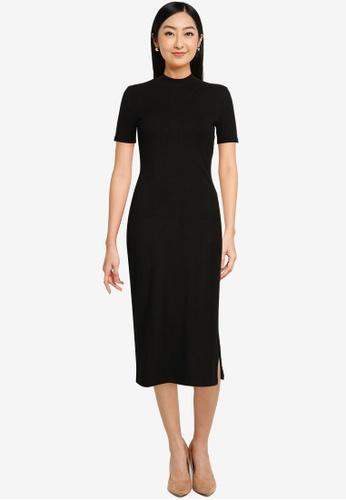 Forever New black Aisha High Neck Rib Dress 65FEBAA384B898GS_1