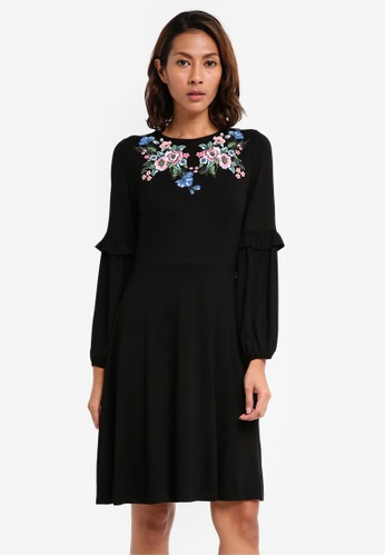 Dorothy Perkins black Embroidery Detail Fit And Flare Dress C0997AA65846E6GS_1