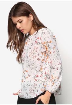Pale Pink Sheer Printed Blouse