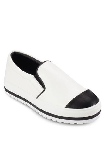 撞色拼接皮革厚底懶人鞋, 女鞋,esprit服飾 鞋