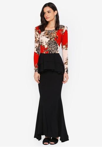 Zuco Fashion black and red Midi Peplum Kurung D4935AA272B5C0GS_1