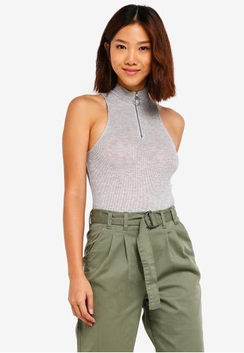 Cotton On grey Kel Zip Mock Neck Bodysuit 5F3E9AA3B3BFF2GS_1