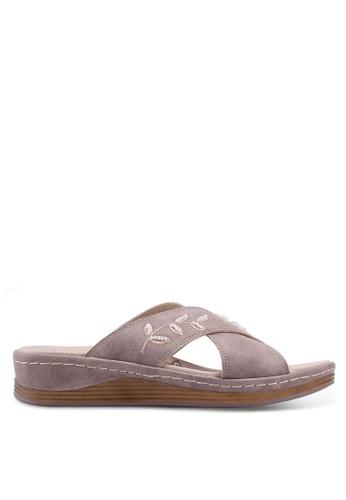 Noveni 灰色 刺繡珠飾涼鞋 5D29BSH8F79F40GS_1