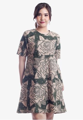 EAJA green and beige Indira Dress Batik Wanita Modern 671AEAA748781EGS_1