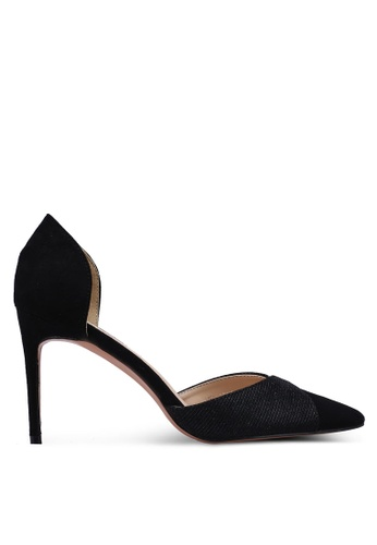 Velvet 黑色 麂皮拼接閃亮高跟鞋 1B230SH05A51A6GS_1