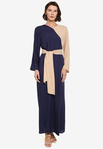 ZALIA BASICS beige and navy Colour Contrast Belted Dress 940F2AA740F521GS_1