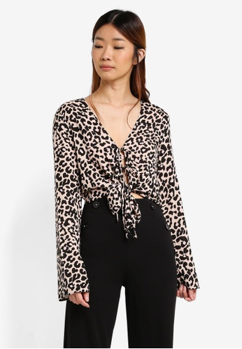 Miss Selfridge multi Animal Tie Front Blouse ECA89AA617F8DDGS_1