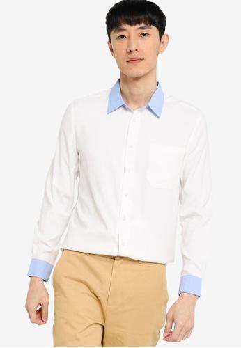 ZALORA BASICS white Slim Fit Contrast Collar & Cuff Shirt D31A4AA5948557GS_1
