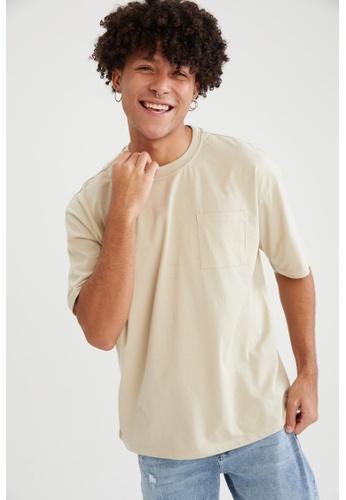 DeFacto grey Short Sleeve Oversize Cotton T-Shirt 79C2FAAC67B2C8GS_1