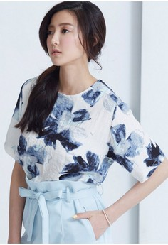 [IMPORTED] Artsy Watercolor Blooming Top - Blue