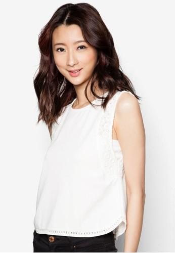 蕾絲滾邊無袖上zalora 台灣衣, 服飾, 服飾