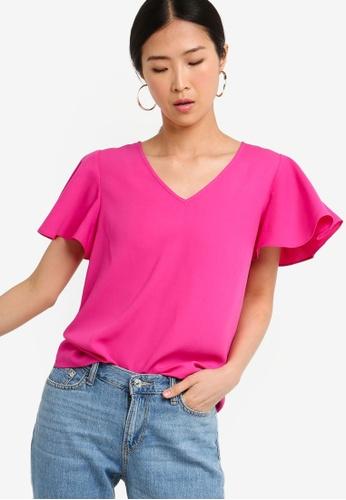 ZALORA BASICS pink Basic Wide Sleeves Blouse 85F95AA2B6B3E3GS_1
