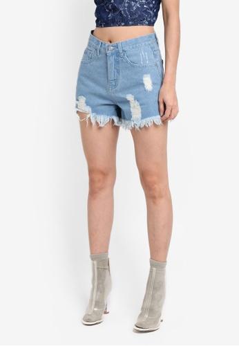 Something Borrowed blue Destroyed Denim Shorts 94711AA1DDAD62GS_1
