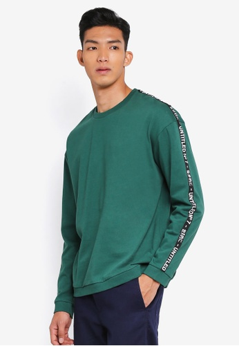 Cotton On 綠色 Drop Shoulder Crew Fleece Sweatshirt 94E34AAE4DE7B8GS_1