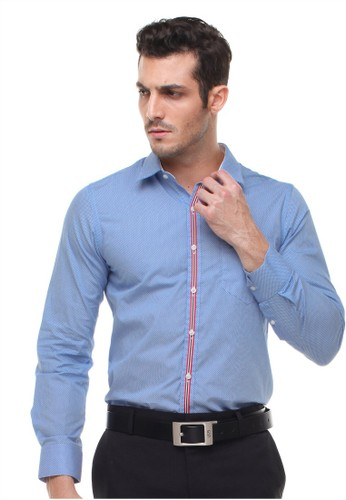 Johnwin blue Johnwin - Slim Fit - Kemeja Formal - Motif Kancing Warna - Bercorak - Biru 1CB97AA1A38E81GS_1