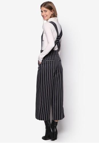 條紋吊帶寬管九esprit分店分褲, 服飾, 服飾