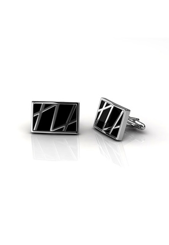 Her Jewellery silver Mr Oil Paint 3 Cufflinks (Rectangle) (18K White Gold Plated) Her Jewellery HE581AC0RBIGMY_1