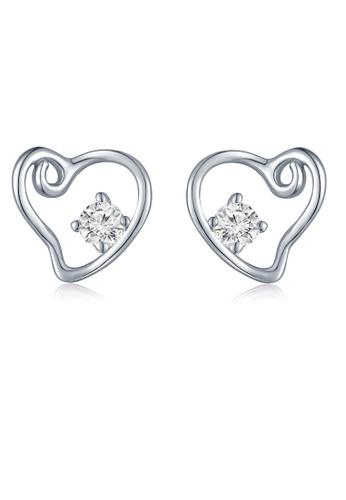 MaBelle silver 18K 750 Diamond Open Heart Stud Earrings 7EFB7AC555B65AGS_1