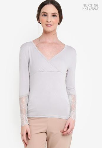 Lubna grey Lace Sleeve Nursing Inner Top B2017AABDBE3C4GS_1