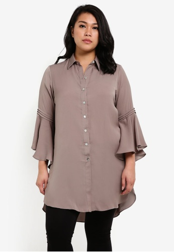 Ex'otico brown Plus Size Long Sleeve Blouse EX373AA0RUV3MY_1