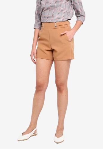 ESPRIT brown Metallic Eyelet Woven Regular Shorts F32EFAA6586AA2GS_1