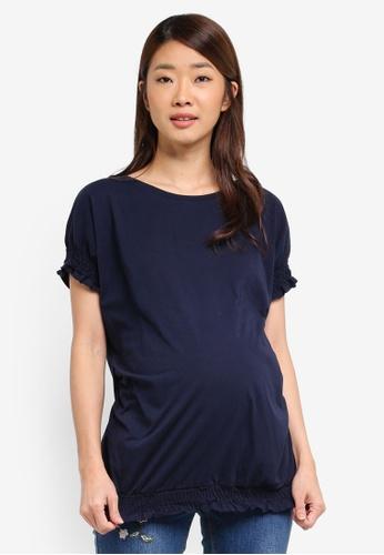 Dorothy Perkins navy Maternity Shirred Cuff Tee 5EA74AA6F75908GS_1