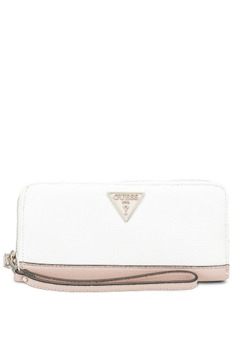 Guess white and multi Sandrine Sling Large Zip Around Wallet C8F09AC3B58D7DGS_1