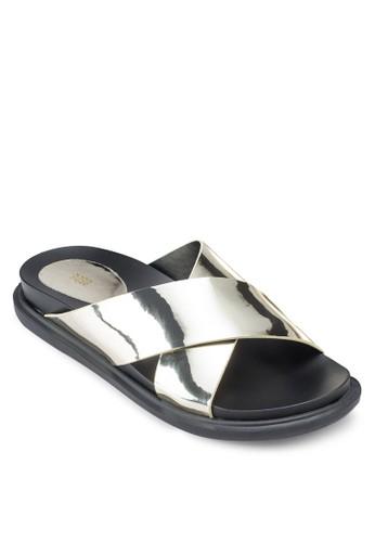 亮面交叉寬帶涼鞋, 女esprit門市鞋, 鞋