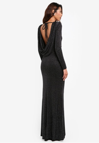 Goddiva black Glitter Cowl Back Maxi Dress With Sleeves 8B1DCAA2953D0AGS_1