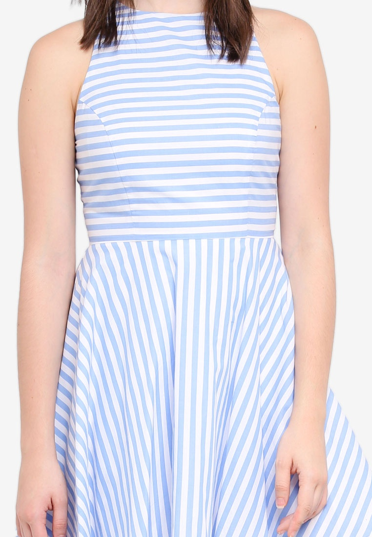 Blue Mini Dress Swing ZALORA Light Stripes qzvgzUI4w