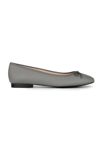 MAUD FRIZON grey Textured Pu Ballerinas With Grosgrain Bow 8E710SH7F8C3A5GS_1