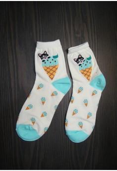 Cat on Cone Unlimited Ice Cream ( Blue) - Korean Socks