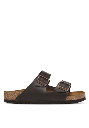 Birkenstock brown Arizona Smooth Leather Sandals BI090SH0RCOEMY_1