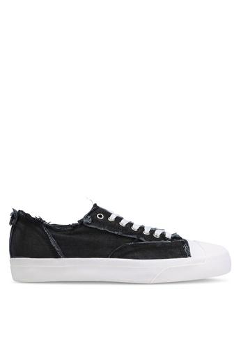 JAXON black Raw Edge Canvas Sneakers 88963ZZB8C0D19GS_1