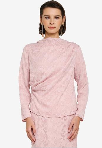 Zalia pink Asymmetrical Drape Lace Top 0B118AA58A6DC7GS_1