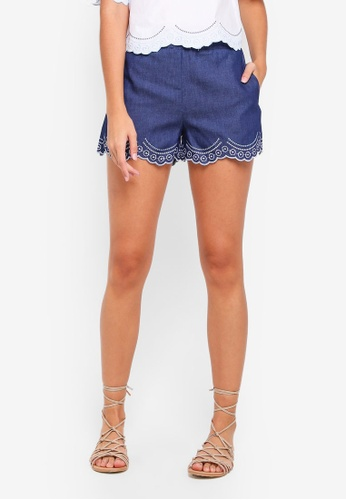 Something Borrowed blue Embroidered Scallop Shorts A131CAAA8D03ECGS_1