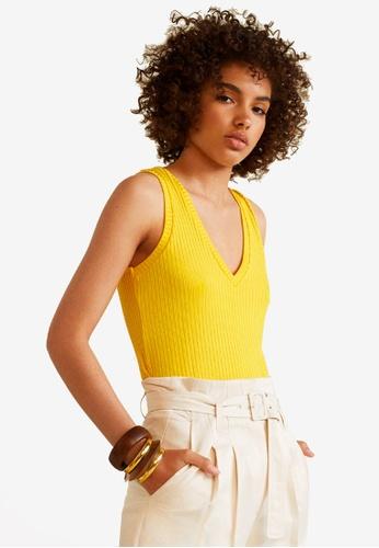 Mango yellow Ribbed Knit Top 8AB23AADB6AA91GS_1
