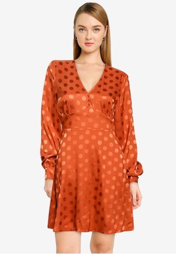 Vero Moda orange Lavida Long Sleeve Short Dress 329A1AAB77FCAAGS_1