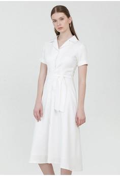 c8069e67ce50 Cloth Inc white Adele Tied Linen Dress in White 04DA8AA60A64D0GS_1