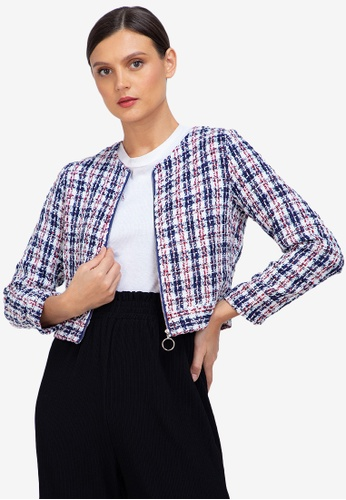 ZALORA WORK multi Tweed Jacket With Zip D5747AAE86FFF9GS_1