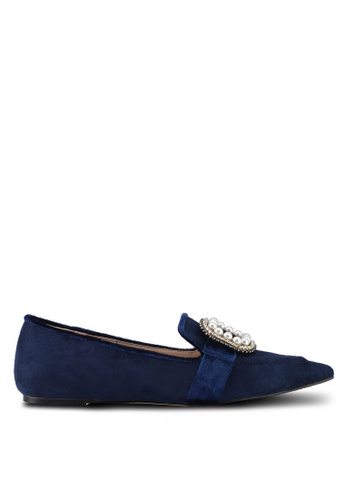 ZALORA navy Bejeweled Buckle Loafers 823D7SHDFF1BA0GS_1
